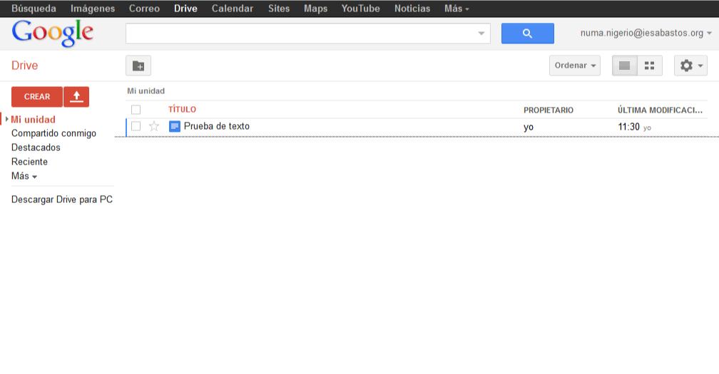 Crear un documento en Drive. Drive. Google Apps. Bartolomé Sintes Marco