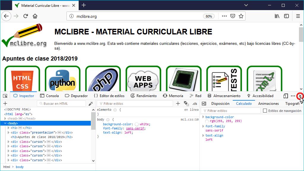 Herramientas para Desarrollador Web de Firefox. Informática ...